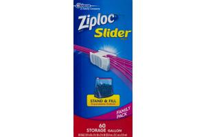 Ziploc Slider Stand & Fill Bags Storage Gallon - 60 CT