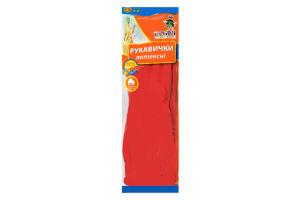 Перчатки латексные с длинным манжетом цвет красный размер L Добра Господарочка 1пара