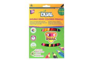 """Олівці кольорові """"DUAL"""", 18 шт., двосторонні, трикутні"""