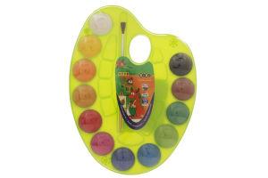 Фарби акварельні на палітрі 12 кольорів натуральний пензель асорті ZB.6558 ZiBi