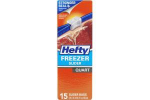 Hefty Freezer Slider Bags Quart - 15 CT
