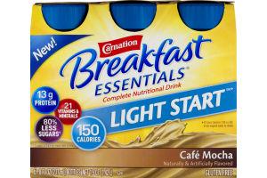 Carnation Breakfast Essentials Light Start Complete Nutritional Drink Cafe Mocha - 6 CT