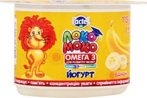 Йогурт Lactel Локо Моко Омега 3 з бананом 1,5% ст.115г*х16