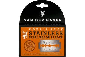 Van Der Hagen Steel Razor Blades Double Edge Stainless - 5 CT