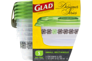 Glad Designer Series Containers & Lids Small Rectangle - 5 CT