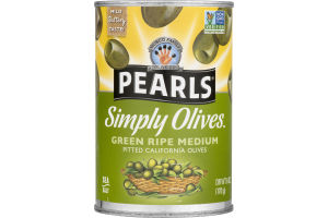 Pearls Simply Olives Pitted California Olives Green Ripe Medium