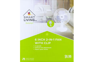 Smart Living Summer 6-Inch 2-In-1 Fan with Clip