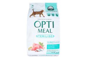 Корм сухой с индейкой и овсом для стерилизованных кошек и кастрированных котов Optimeal м/у 4кг