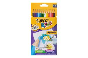 Карандаши цветные для живописи Aquacouleur Kids BiC 12шт
