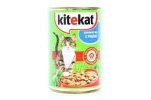 Корм для котов с рыбой в соусе Kitekat ж/б 400г