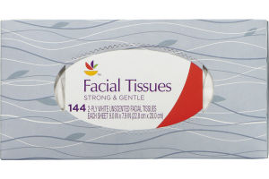 Ahold Facial Tissues Strong & Gentle Unscented - 144 CT