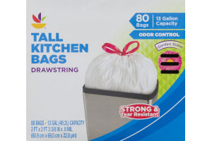 Ahold Tall Kitchen Bags Drawstring Odor Control Garden Scent - 80 CT