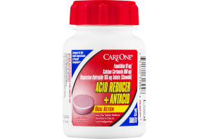 CareOne Dual Action Acid Reducer + Antacid Tablets Berry Flavor - 25 CT