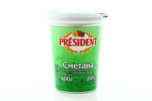 Сметана 20% President ст 400г