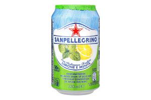 Напиток безалкогольный газированный Limone e Menta Sanpellegrino ж/б 330мл
