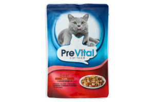 Корм влажный для котов с говядиной PreVital д/п 100г