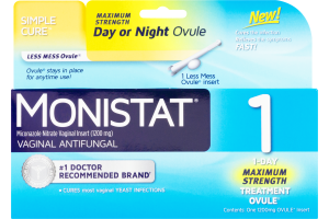 Monistat 1 Vaginal Antifungal 1-Day Maximum Strength Treatment Ovule