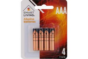 Smart Living Alkaline Batteries AAA - 4 CT