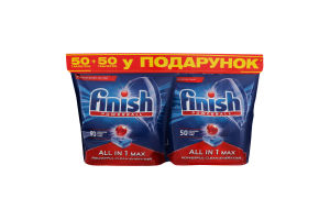Таблетки для посудомоечной машины All in 1 max Powerball Finish 2х50шт