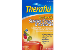 Theraflu Daytime Severe Cold & Cough Packets Berry & Green Tea Flavors - 6 CT