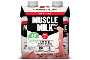 Muscle Milk Genuine Non-Dairy Protein Shake, Strawberries 'n Crème, 25g Protein, Ready to Drink, 11 fl. oz., 4 Pack