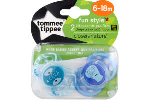 Tommee Tippee Fun Style Orthodontics Pacifiers 6-18m - 2 CT