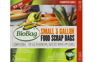 BioBag Compostable Small 3 Gallon Food Scrap Bags - 25 CT