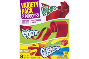 Fruit Roll-Ups, Fruit By The Foot, Fruit Gushers Variety Pack - 8 CT