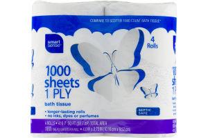 Smart Sense 1000 Sheets 1 Ply Bath Tissue - 4 CT