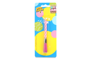 Свеча розовая музыкальная №1502-1121 Веселая Затея 1шт