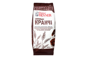 Мюсли запеченные цельнозерновые с какао черным шоколадом и овсяными отрубями Шоколадные Кранчи Doctor Benner м/у 375г