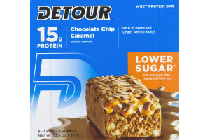 Detour Whey Protein Bar Chocolate Chip Caramel Lower Sugar - 9 CT