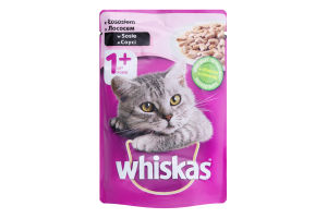 Корм для дорослих котів з лососем в соусі Whiskas д/п 100г