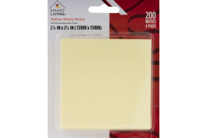 Smart Living Yellow Sticky Notes - 200 CT