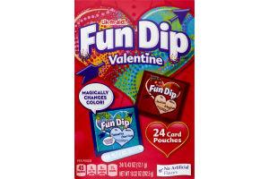 Lik-m-aid Fun Dip Valentine Candy Card & Pouches - 24 CT
