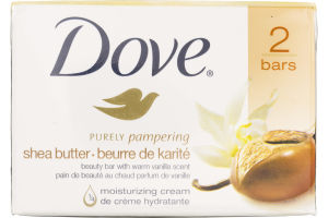 Dove Purely Pampering Beauty Bar Shea Butter with Warm Vanilla 4 oz, 2 Bar