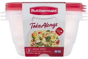 Rubbermaid Take Alongs Medium Bowls Containers + Lids - 3 CT
