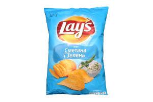 Чіпси зі смаком сметани і зелені Lays м/у 133г