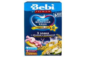 Каша Bebi Premium молочна 3 злаки з яблук і ромашк 200г х18