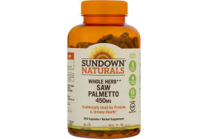 Sundown Naturals Whole Herb Saw Palmetto 450 mg - 250 CT