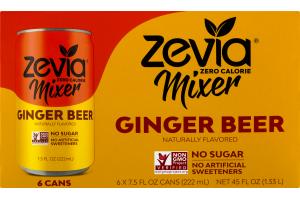 Zevia Zero Calorie Mixer Ginger Beer - 6 PK
