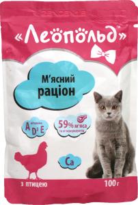 Корм влажный с птицей для кошек Леопольд д/п 100г