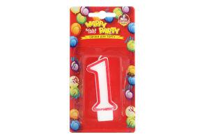 Свічка-цифра для торту глазурована 7.5см №P52-618/1 Happy Party Помічниця 1шт