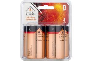 Smart Living Alkaline Batteries D - 4 CT