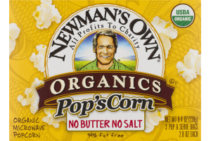 Newman's Own Organics Pop'sCorn No Butter No Salt - 3 CT