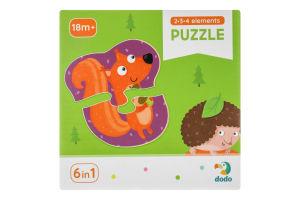Пазл для дітей від 18міс №300195 Лісові тварини 2-3-4 елементи Dodo 18ел