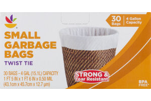 Ahold Small Garbage Bags Twist Tie - 30 CT