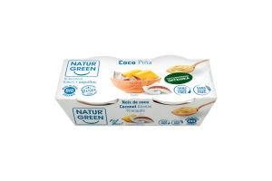 Десерт рослинний органічний з кокоса з ананасом NaturGreen к/у 2х125г