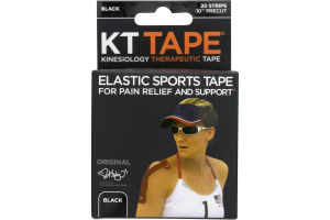 KT Tape Elastic Sports Tape Strips Black - 20 CT