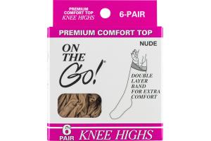 On the Go! Premium Comfort Top Knee Highs Nude - 6 CT
